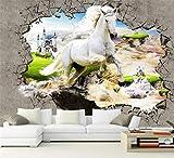 Papiers peints muraux non-tissés de mur de photo de papier peint 3D décor à la maison 3D cheval stéréo cassés Peinture moderne de chambre à coucher de mur de mur, 300 * 210Cm