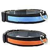 Super Bright USB aufladbare LED Hund Katze Sicherheit Halsband–Großartig Sichtbarkeit und verbesserte Sicherheit–Pack von 2