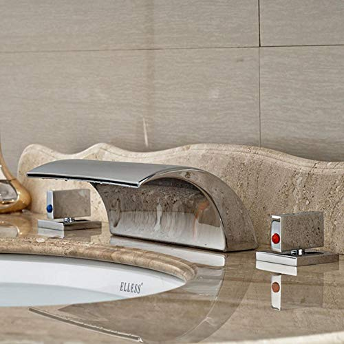 Deck Mount Tub (Wasserhahn 2019 New Dual Handle Waterfall Bathtub Mixer Faucet Set Deck Mount Bathroom Tub Basin Sink Faucet Chrome Finish)