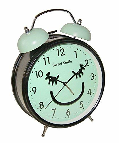 Sweet Smile Großer Nostalgischer XL Retro Glocken Wecker Uhr Glockenwecker Quarzuhr Retrowecker Batteriebetrieben Neu (Blau)