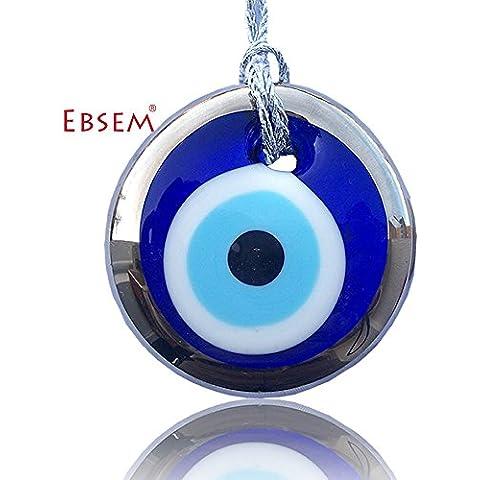 Ornamento Ciondolo Charm in argento dorato a mano occhio vetro per buona fortuna, successo e protezione, 2.7 inches (7.5 cm) - Ebraica Evil Eye
