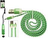 Emartbuy® Geflochten Flaches Duo Packfür Medion LifeTab X10301 10.1 Zoll HD Tablet PC - Grün Mini Eingabestift + Geflochten Grün/Lila Flaches Micro USB Data & Ladekabel