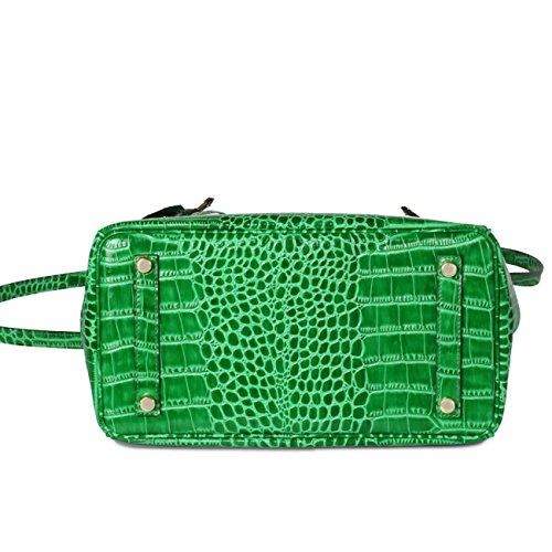 Cuoio genuino della borsa di cuoio del cuoio genuino del modello del coccodrillo di modo con i colori della cinghia di spalla 5 Green