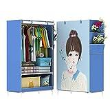 Wdj Portable Kleiderschrank Stoff Regal, Garderobenschrank Campingschrank Faltschrank, Stoffkleiderschrank Vlies-Gewebe und Metallgestell