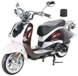 Znen Retro Roller ZN125T-H Motorroller 125cc Retroroller Scooter 125ccm Euro4 EFI Sportroller 85km/h (Braun/Creme)