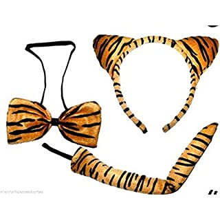 ALANNAHS ACCESSORIES Tiger Ears Tail And Bow Outfit Tigger Catwoman Fancy Dress Up Brown White Black