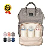 HEYI Baby Wickeltasche Reise Rucksack,Isolierte Tasche, Wasserdicht Stoffe, Multifunktional, Passform für Kinderwage, Große Kapazität Modern Einzigartig Tragbar Handtasche Organizer (grau)