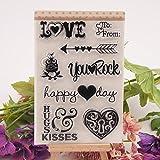 ECMQS Happy Day DIY Transparente Briefmarke, Silikon Stempel Set, Clear Stamps, Schneiden Schablonen, Bastelei Scrapbooking-Werkzeug