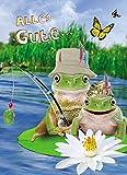 Geburtstag Humor Grußkarte Googlies Wackelaugen Alles Gute! Frösche Angler 12x17cm