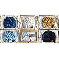 Hand-knitted Baby Boy Zigzag Beanie Hat - Size Premature to 0-3 months