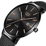 LIGE Ultradünne Herrenuhr Edelstahl wasserdicht analoge Quarz Männer Uhr Mode aus schwarzem Mesh Armbanduhren
