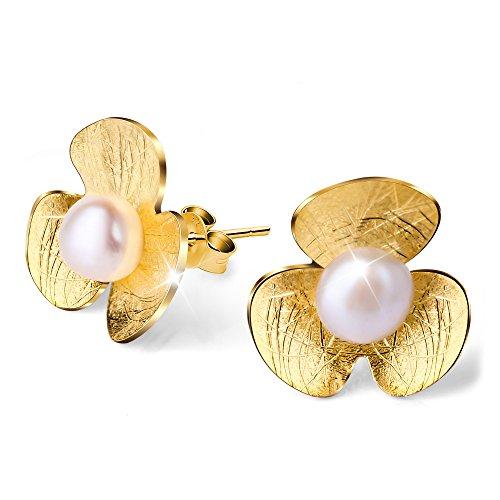 Lotus Fun S925 Sterling Silber Ohrstecker Lucky Flower Clover Mit Süßwasserperle Damen Ohrstecker, Handgemachte Einzigartige Schmuck (Gold)