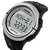 Men's LCD Multifunctional Digital Pedometer 3D Rubber Strap Sports Wrist Watch