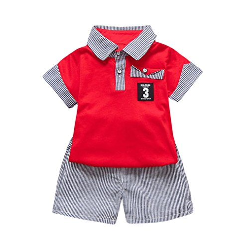 CLOOM 2PC Kleinkind Sommer T-Shirt Kinder Baby Brief gedruckt T-Shirt Tops+gestreifte Shorts Outfits Kind Sommer Gentleman Anzug Tier Jungen T-Shirt Set Süße Bluse Kindermode Set (80, Rot)