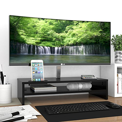 1home moniteur stand lever pc ecran ordinateur imac en bois noir l540 xp 255 x h130mm crimaxma. Black Bedroom Furniture Sets. Home Design Ideas