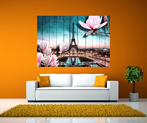 wandmotiv24 Wandbild Holz Blüten Paris Eiffelturm Selbstklebende Folie - XS - 40x28cm (BxH) Foto-Geschenk, Acrylbild, Dekoration Wohnung WB0543