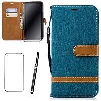 Samsung Galaxy A6 2018 Hülle, MISSDU Handyhülle Premium PU Leder Flip Tasche Wallet Case mit Integrierten Kartensteckplätzen [Gifts: Screen Protector, Touch Pen] - Grün