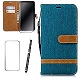 Samsung Galaxy Grand Prime Pro 2018 Hülle, MISSDU Handyhülle Premium PU Leder Flip Tasche Wallet Case mit Integrierten Kartensteckplätzen [Gifts: Screen Protector, Touch Pen] - Grün