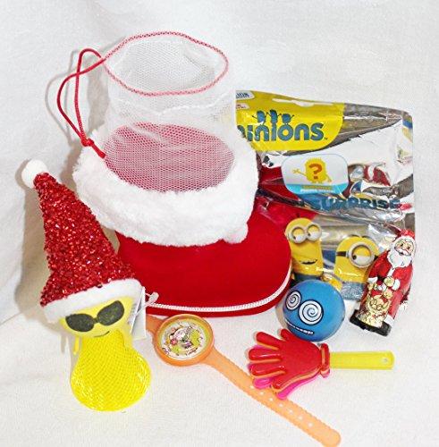 110681 Nikolausstiefel gefüllt Weihnachts Jumper Minion Blindbag Flummi Weihnachtsmann Nikolaus Geschenk