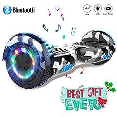 Idea Regalo - COLORWAY scooter 6.5'' Smart Scooter Auto Bilanciamento Bluetooth elettrico e LED Multicolor E-Skateboard Auto Balance