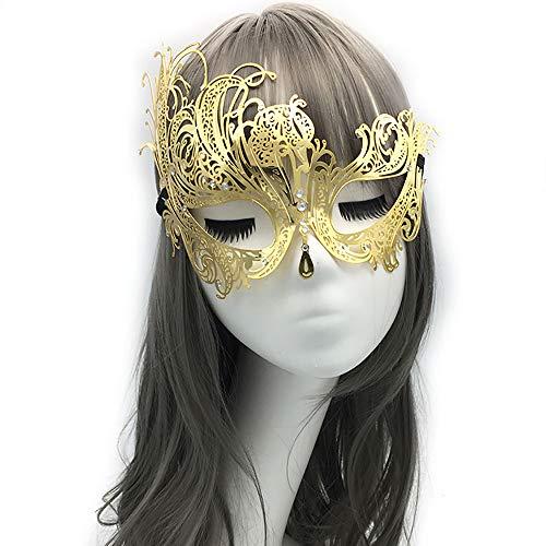 (YIRENXIAO Sexy Maske für Damen, Metallic, luxuriös, mit Diamanten, Party, halbes Gesicht, Maskerade (21 x 16 cm), Metall, Gold, E)