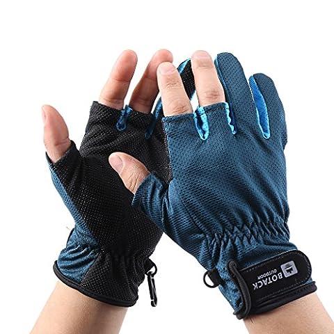 HYSENM 3 Cut Finger Handschuh Atmungsaktiv Schnell-Trocken Leicht Feuchtigkeitsaufnahme Für Herren Und Damen Outdoor Camping Angeln Jagen Reiten Fahrrad Gloves, dunkelblau, (Infielders Glove)