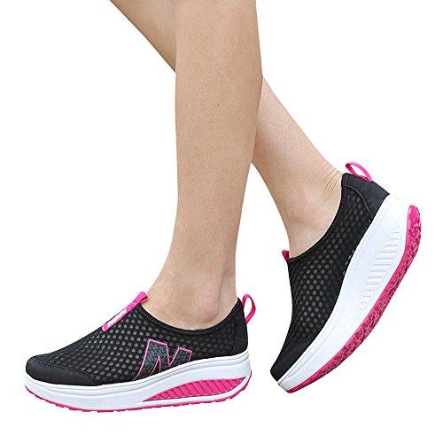 Sonnena Femmes Bottes Chaussures Femmes Baskets Compensées Femmes Chaussure de Sport Gym Fitness Sneakers Basses Compensées 2.5cm Jogging Voyage Respirantes