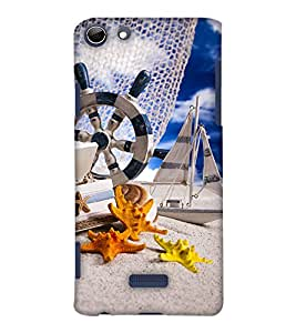 PrintHaat Designer Back Case Cover for Micromax Canvas Selfie 3 Q348 (miniature of a yacht, building and star fishes taking rest :: funny :: in yellow, blue orange and black)