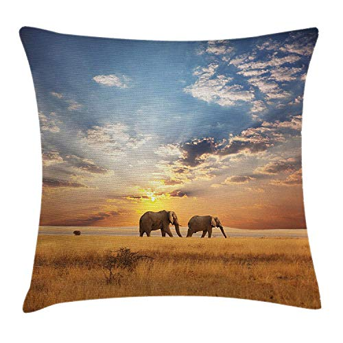 Safari Throw Pillow Cushion Cover, Elephants African Distinct Species Sun Rays Untouched Land Fall Scene Picture, Decorative Square Accent Pillow Case, 18 X 18 inches, Light Brown Blue
