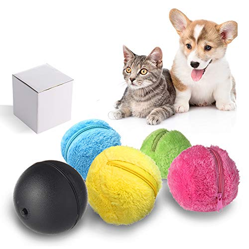 Umiwe Magic Roller Ball, 2 en Función de 1 Mascota de Juguete Eléctrico Bola con Cubierta de 4 Lanas para Perro Gato, Dirección de Giro Automáticamente Microfibra Bola de la Fregona