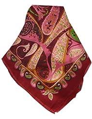 Echarpe Foulard Premier Qualité Classic Motif Indore en Red en 100% Soie du Mûrier de Pashmina & Silk