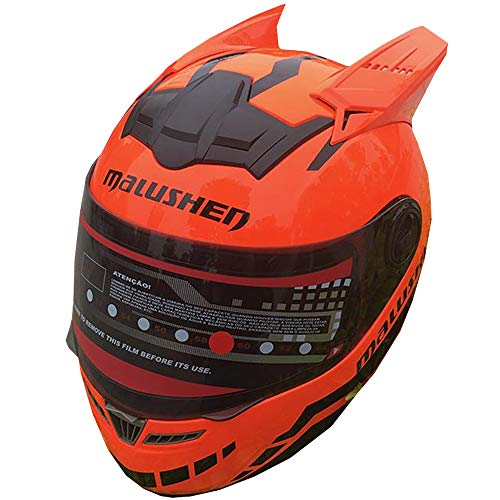 YASULE Mode Persönlichkeit Motorradhelm, Männer Und Frauen Elektroauto Lokomotive ATV Mountainbike Racing Roller Fliegen Downhill Integralhelm, DOT Zertifiziert Helm,Orange,XXL:63~65cm
