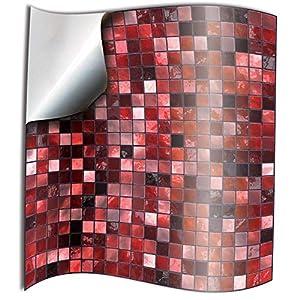Tile Style Decals 24 stück Fliesenaufkleber für Küche und Bad 24xTP3-6-Red   Mosaik Wandfliese Aufkleber für 15x15cm Fliesen   Deko Fliesenfolie für Küche u. Bad (15cm 24 stück, Rot)