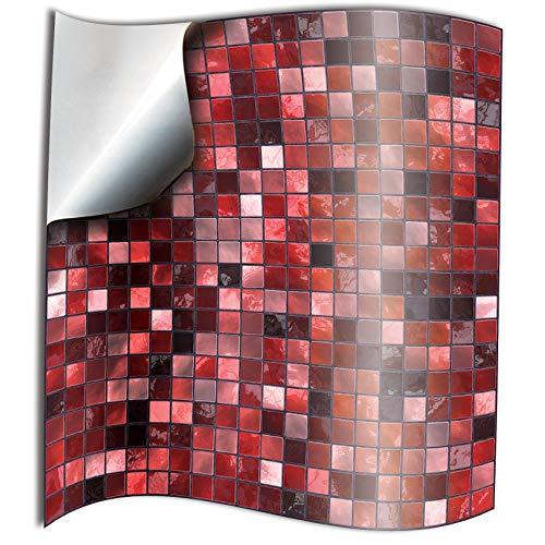 Tile Style Decals 24 stück Fliesenaufkleber für Küche und Bad 24xTP3-6-Red | Mosaik Wandfliese Aufkleber für 15x15cm Fliesen | Deko Fliesenfolie für Küche u. Bad (15cm 24 stück, Rot) -