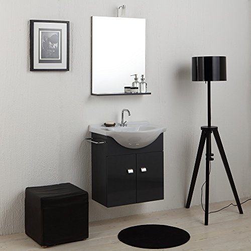 Mobile bagno economico 58 cm con lavabo in ceramica, specchio e luce grigio grafite