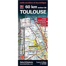 60 km autour de Toulouse, carte routière et touristique