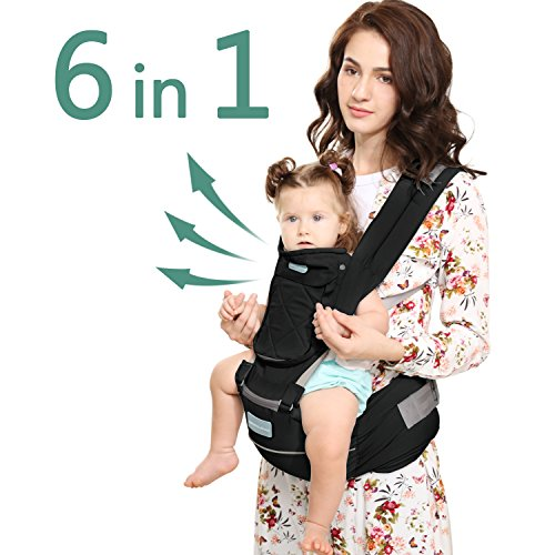 Windsleeping Baby and Child Carrier Backpack 6-in-1 Detachable Natural Latex Carrier Sling with Hip Seat, Suit for Newborn, Infant,Toddler,Kids - Black