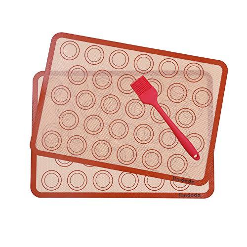 Macarons Tapis de Four et Cuisson en Silicone--Conçu pour le Chef, Jimdada Set de 2 Plaques de Cuisson(42 x 29.5 cm),BROSSE CADEAU --SATISFACTION 100% GARANTIE