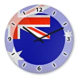Wanduhr mit Motiv - - australien Flagge - aus Echt-Glas | runde Küchen-Uhr | große Uhr modern