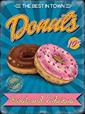 Ring Donuts 50's Diner. Chocolate and strawberry frosting. Sprinkles. 100s and 1000s. 10c. Sweet and Delicious. The best in town. Food and drink. Retro vintage advertising. Made fresh. Ideal for house, home, kitchen, cafe, shop, bar or pub. Large Metal/Steel Wall Sign