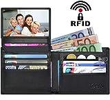 Geldbörse Herren Viele Fächer DeFe RFID Männer Portemonnaie Leder Reißverschluss Herren Brieftasche 10 Kartenfächer Geldbeutel Männer Klein mit Münzfach, Geschenk für Männer (Schwarz)