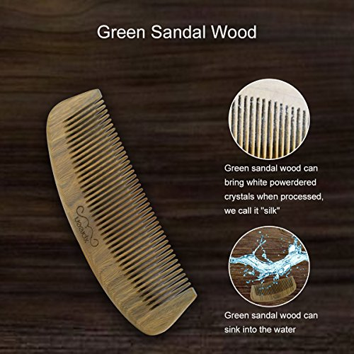 Image of Wooden Comb,Xpreen Hair Comb, Handmade Green Sandal Wood with Wood Scent for Beard, Hair and Mustache