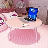 Falten Tisch Klapptisch Runden, Innen Computer Schreibtisch Studie Laptop Stand Bett Tablett Freizeit Faul Tabelle Draussen Tragbar Reise (Color : Pink)