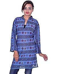 c5ed337fc34602 Lakkar Haveli Indian Women Ethnic Tunic Kurti Top Om Print 100% Cotton Blue  Color Plus