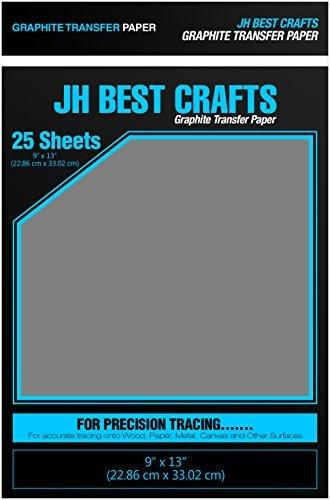 jh-best graphit Transfer Transparentpapier Carbon Papier-25Blatt (22,9x 33cm) für Zeichnungen und Fotos auf Holz Stoff Metall Canvas Papier und andere-Schwarz