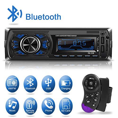 1 Din Autoradio Bluetooth, Dicool Radio Stéréo Voiture, 2 Ports USB Charger Téléphone&USB Clé, Card Slot SD/MMC Max 32G Mémoire, Lecteur FM/MP3/USB/SD/WMA/AUX Télécommande, 7 Couleurs...
