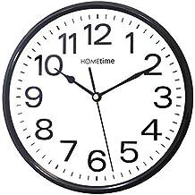 Hometime - Orologio da parete silenzioso al quarzo, colore: Bianco e Nero