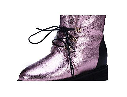 YYH Fissure de Lace Up occasionnels Martin bottes cuir éclater de la femme et velours semelle épaisse neige bottes Flip chaussures chausson coton Pink