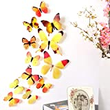 Xinantime 12pcs 3D Butterfly Decal Art Wall Stickers (Yellow)