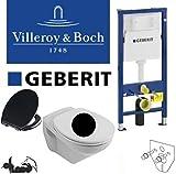 Geberit Duofix Vorwandelement Wand WC-Set + Villeroy&Boch Ceramicplus Black&White